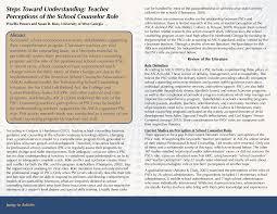 Steps Toward Understanding: Teacher Perceptions of the School Counselor Role