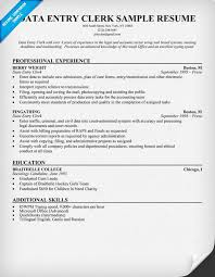 Gallery Of Sample Cover Letter Sample Resume Data Entry Clerical