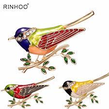 Rhinestone <b>Colorful</b> Enamel Oriole Bird Branch Brooch Pins <b>Men</b> ...