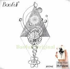 Baofuli геометрия алмаз временный мужской татуировки пространство земли звезды