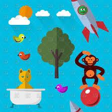 cute cartoon animals cat in bathtub monkey and birds vector image vector artwork to zoom