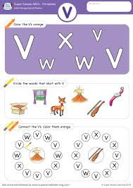 Explore the abcs with 800+ printable alphabet worksheets. Letter Recognition Phonics Worksheet V Uppercase Super Simple