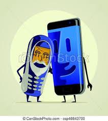 Modern smartphone grandson hugs his old phone grandfather