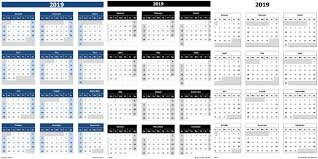 Calendar From Excel Data 2019 Calendar Excel Templates Printable Pdfs Images