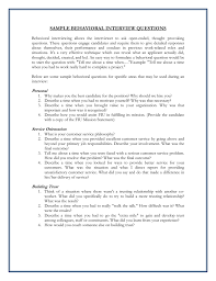 Examples Of Behavioral Interview Questions Sample Behavioral Interview Questions