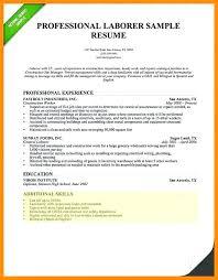Laborer Resume Objective Sample Resume For Laborer Skills And
