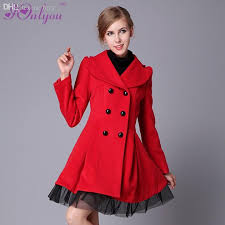 whole women girl s winter double ted trench coat peacoat long dress jacket coat white red coat jacket coated glove with 39 03 piece on