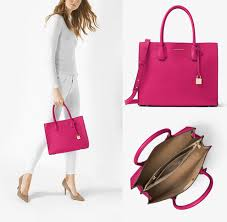 nwt michael michael kors mk mercer large leather tote ultra pink