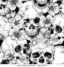 Skull Pattern Stunning Seamless Pattern With Image A Skull And With Flowers Cherry Vector