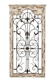 wood metal wall decor distressed white brown shabby