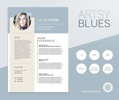 Artsy Blues Resume Template Resume Templates Creative Market