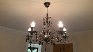 modern 5 bulb chandelier light fitting with black pendants