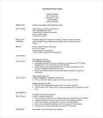 Sample Resume For Internship Internship Resume Sample Career Center