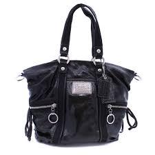 com coach black patent bag