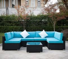 Amazon com outdoor rattan patio garden furniture pe wicker sofa w grey cushions blue cushion covers are for free(black 7pcs) garden outdoor