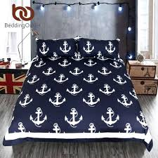 blue and white duvet cover anchor bedding set queen size for kids boy bedclothes dark blue