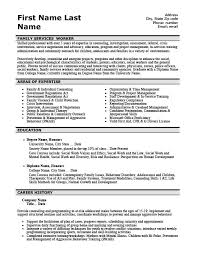 Family Services Worker Resume