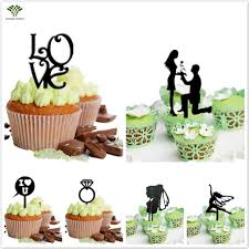 Cupcake Decorating Accessories 100 PCSpack Custom Wedding Cupcake Topper Love Arcylic Wedding Cake 81