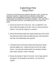 catching fire essay exam by vickie mansour teachers pay teachers