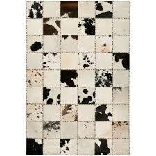 cow hide white black 4 ft x 6 ft area rug