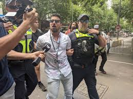"The Invasion Day counter protest Melbourne - Wife basher Avi Yemini  arrested while representing ""quiet Australia"" - Imgur"