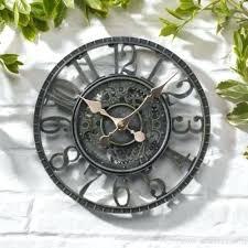 open face wall clock garden large vintage open face blue slate effect weatherproof outdoor indoor garden