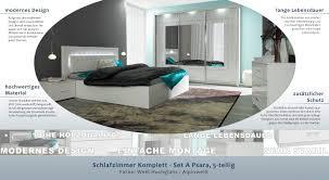 Schlafzimmer Komplett Set A Psara 5 Teilig Farbe Weiß Hochglanz
