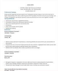Event Planner Resume Objective 8 Sample Event Coordinator Resumes In Word Pdf