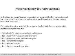 restaurant busboy interview questions In this file, you can ref interview  materials for restaurant busboy ...
