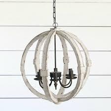 distressed wood sphere chandelier