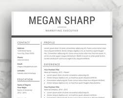 Resume Template Etsy Simple Resume Template
