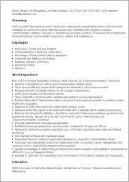 Resume Templates: Telecommunications Technician