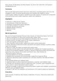 Resume Templates: Telecommunications Technician