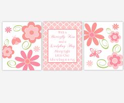 baby girls canvas nursery wall art pink c flowers ladybug erfly kiss canvas prints baby nursery decor