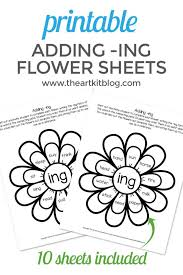 A flower pot with a floral design. Waldorf Flower Language Arts Coloring Pages Adding Ing Worksheets For Kids Printable Pack Dolch Words The Art Kit