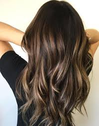 put an ashy blonde balayage over your dark brown hair for a nicely contrasting highlight style that will lighten your look without completely transforming