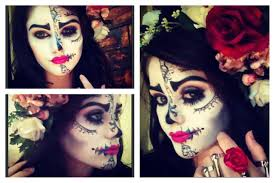 sugar skull half face makeup hair and outfit easy you