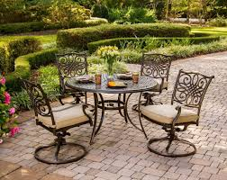 hanover traditions 5 piece outdoor dining set with swivel rocker chairs