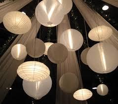 paper lantern chandelier wedding venue