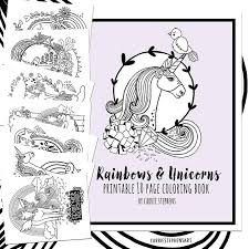 Unicorn Birthday Coloring Printable Pdf Unicorn Coloring Etsy