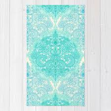 happy place doodle in mint green aqua area throw rug by mick