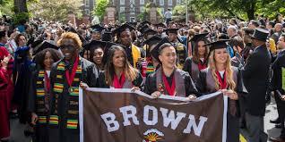 brown graduation procession
