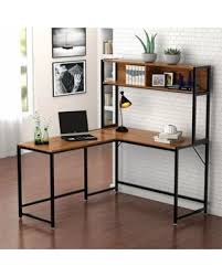 L shaped desks for home office Black Tribesigns Shaped Desk With Storage Corner Desk With Hutch For Home Office walnut People Dont Miss This Deal On Tribesigns Shaped Desk With Storage