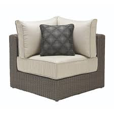 this review is from naples brown all weather wicker corner outdoor sectional chair with hinged cushion with putty cushions