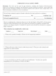 Free Employment Evaluation Forms Employee Form Template Performance