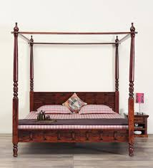 four poster bedroom furniture. Ayasa Solid Wood Poster Bed In Honey Oak Finish By Mudramark Four Bedroom Furniture