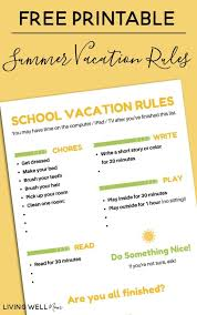 Free Printable School Charts Free Printable School Vacation Rules Chart