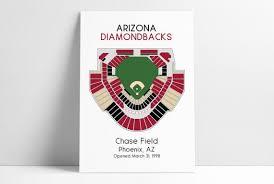Dbacks Tickets Seating Chart Arizona Diamondbacks Baseball Map Mlb Stadium Map Dbacks Baseball Stadium Map Gift For Him Stadium Seating Chart Man Cave