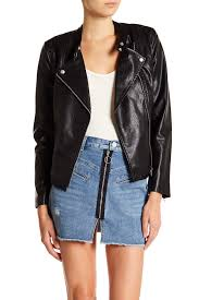 image of blanknyc denim faux leather peplum hem jacket
