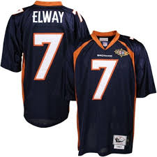 Throwback Authentic Elway Mitchell Broncos - amp; Blue Ness Denver Navy Jersey John